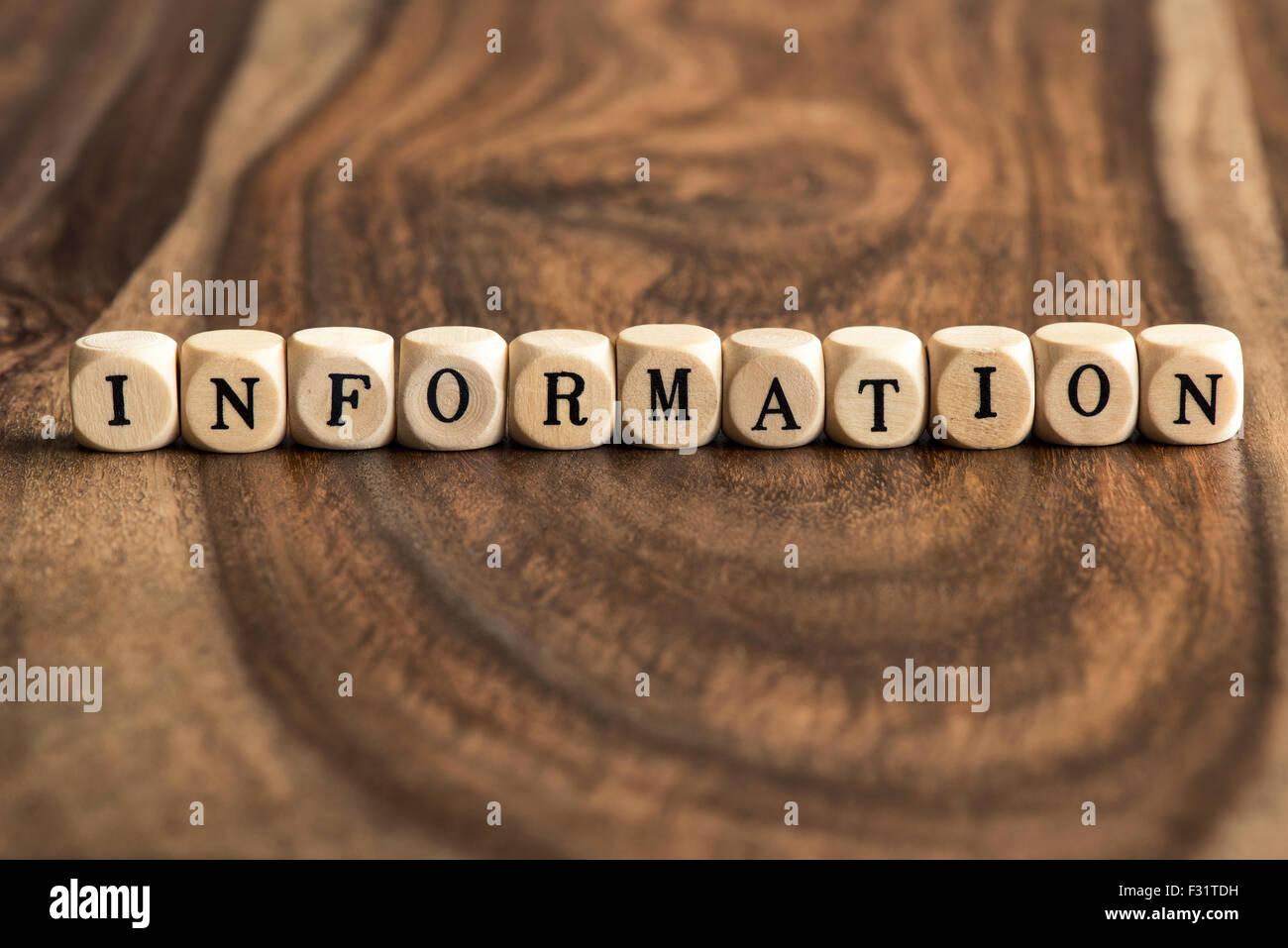 Parola di informazioni di background sui blocchetti di legno Immagini Stock