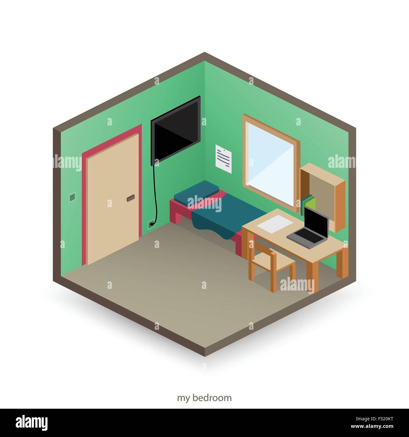 Isolato Isometrica Camera Da Letto Con Oggetti Decorativi E Piatto Icone Di Stile Vettore Interior Design Immagine E Vettoriale Alamy