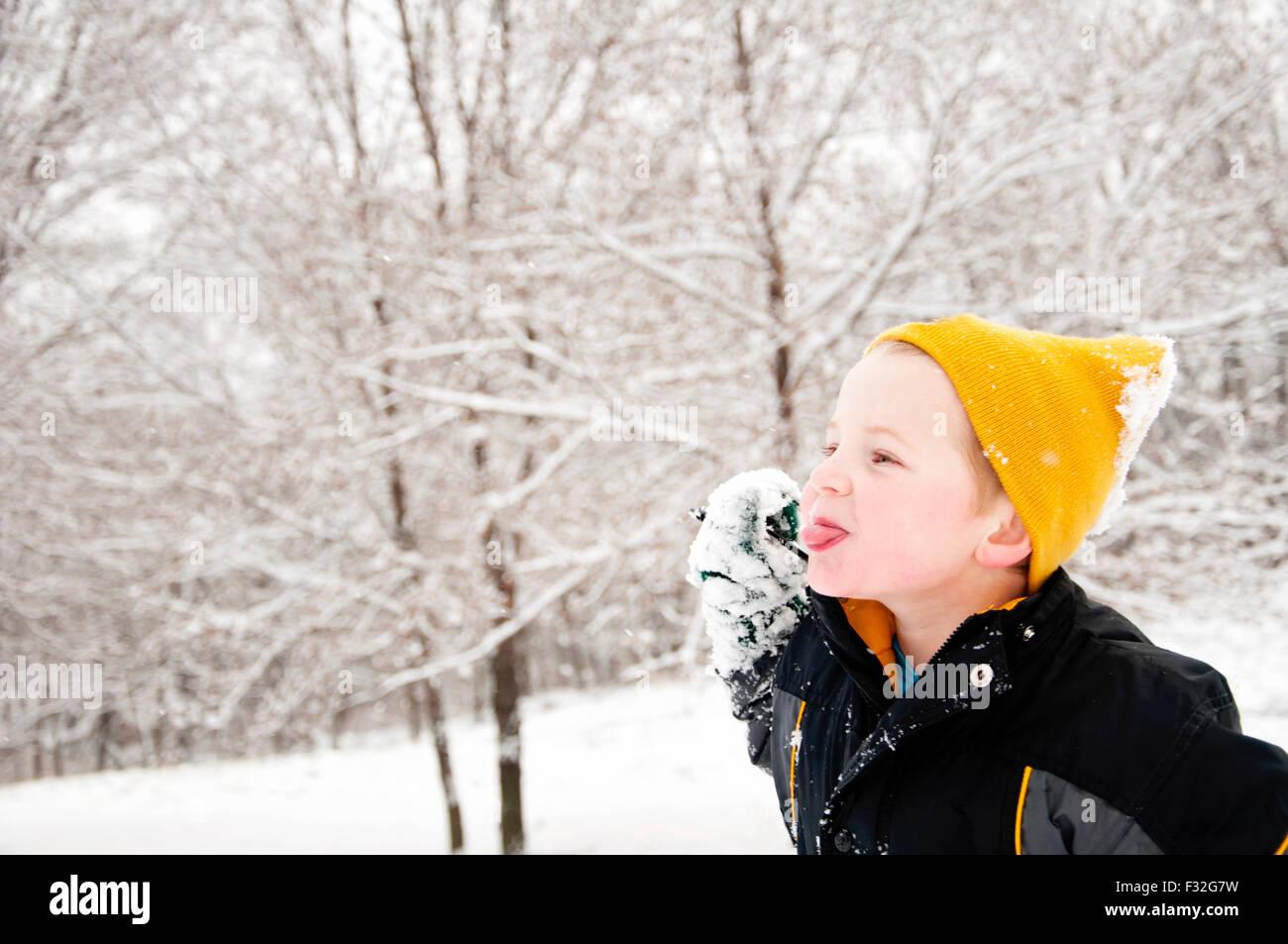 Ragazzo spuntavano lingua paesaggio invernale Immagini Stock