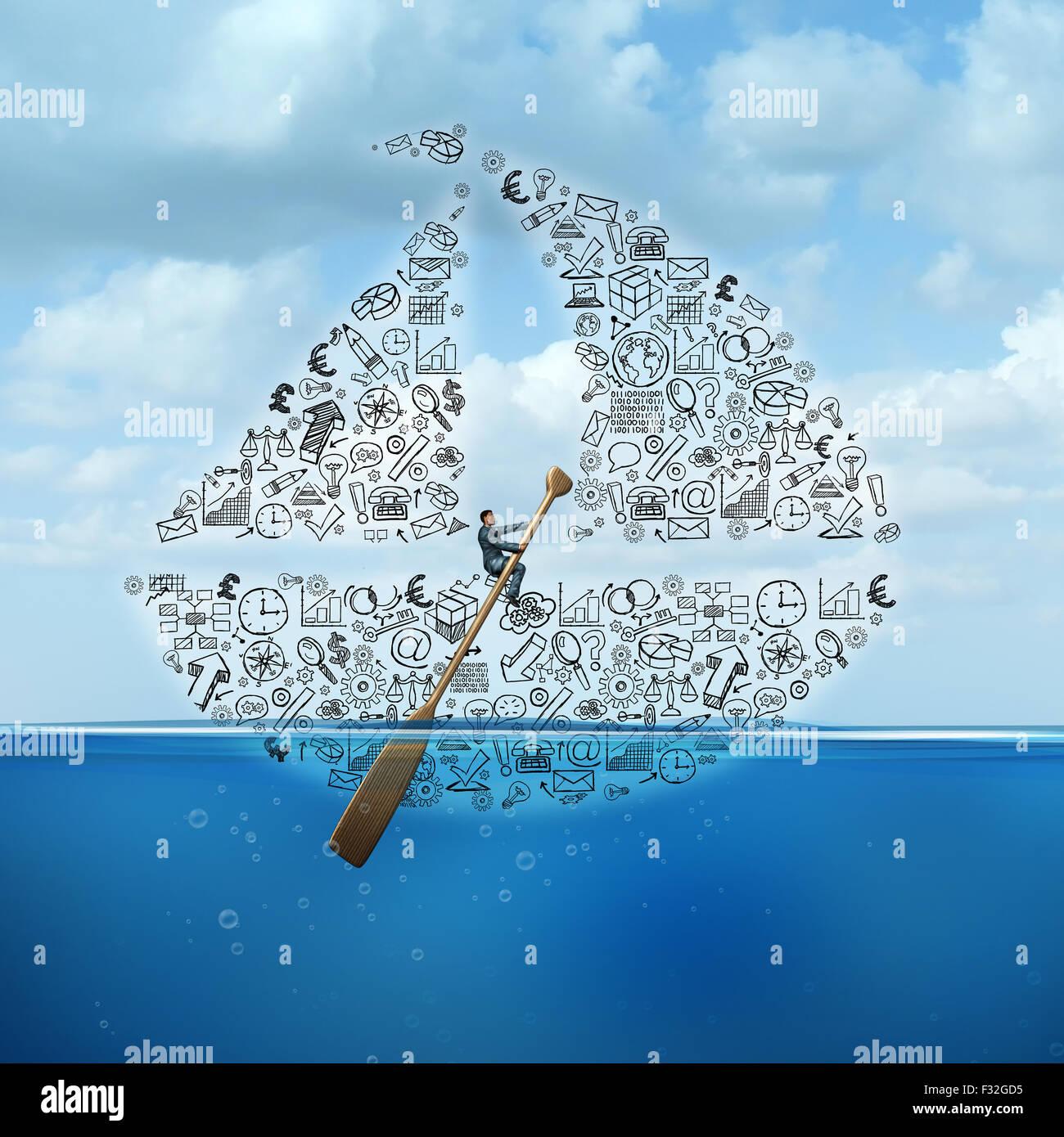 Consulenza aziendale e consulenza strategica come un uomo d affari con lo sterzo di una barca a vela fatta di società Immagini Stock