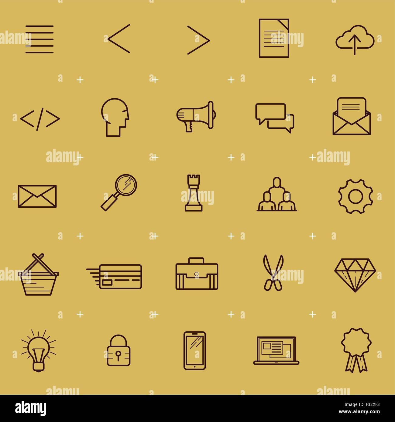 Web e interfaccia Icon Set. Una collezione di Internet e icone di navigazione. Illustrazione Vettoriale. Immagini Stock