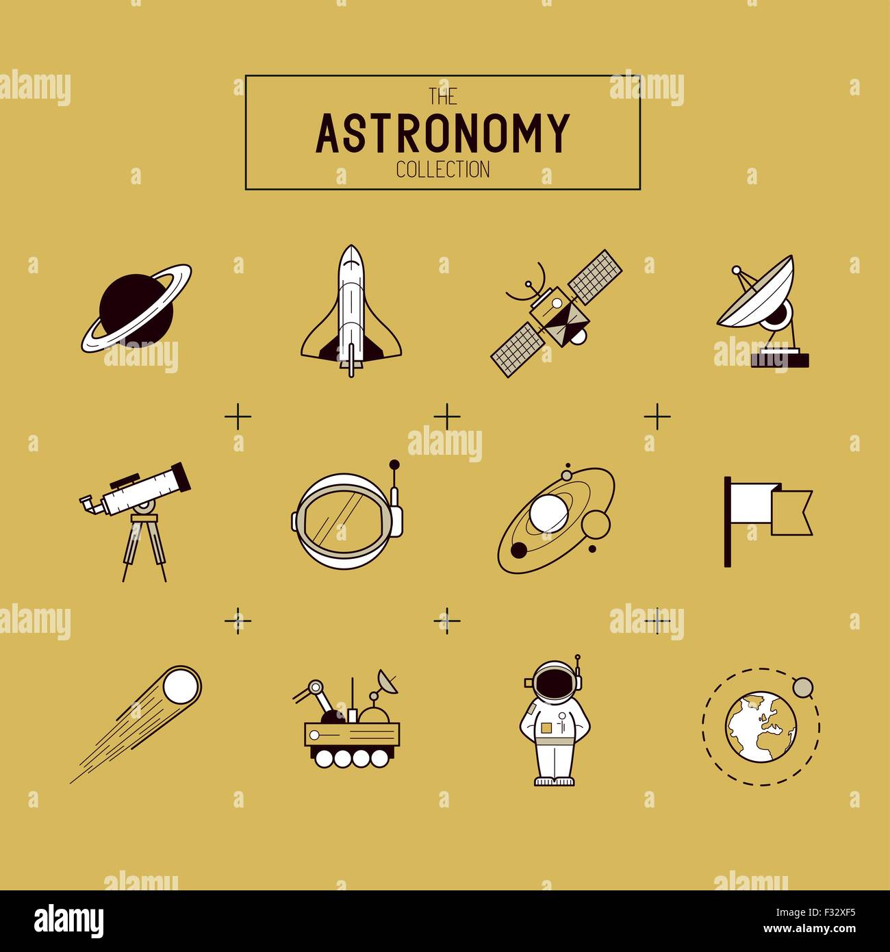 Astronomia Gold Icona vettore Set. Una collezione di spazio themed le icone della linea includente un pianeta, rucola, Immagini Stock