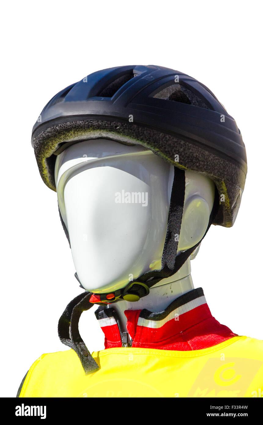Modello di bicicletta con il kit di protezione e un casco su uno sfondo bianco isolato Immagini Stock
