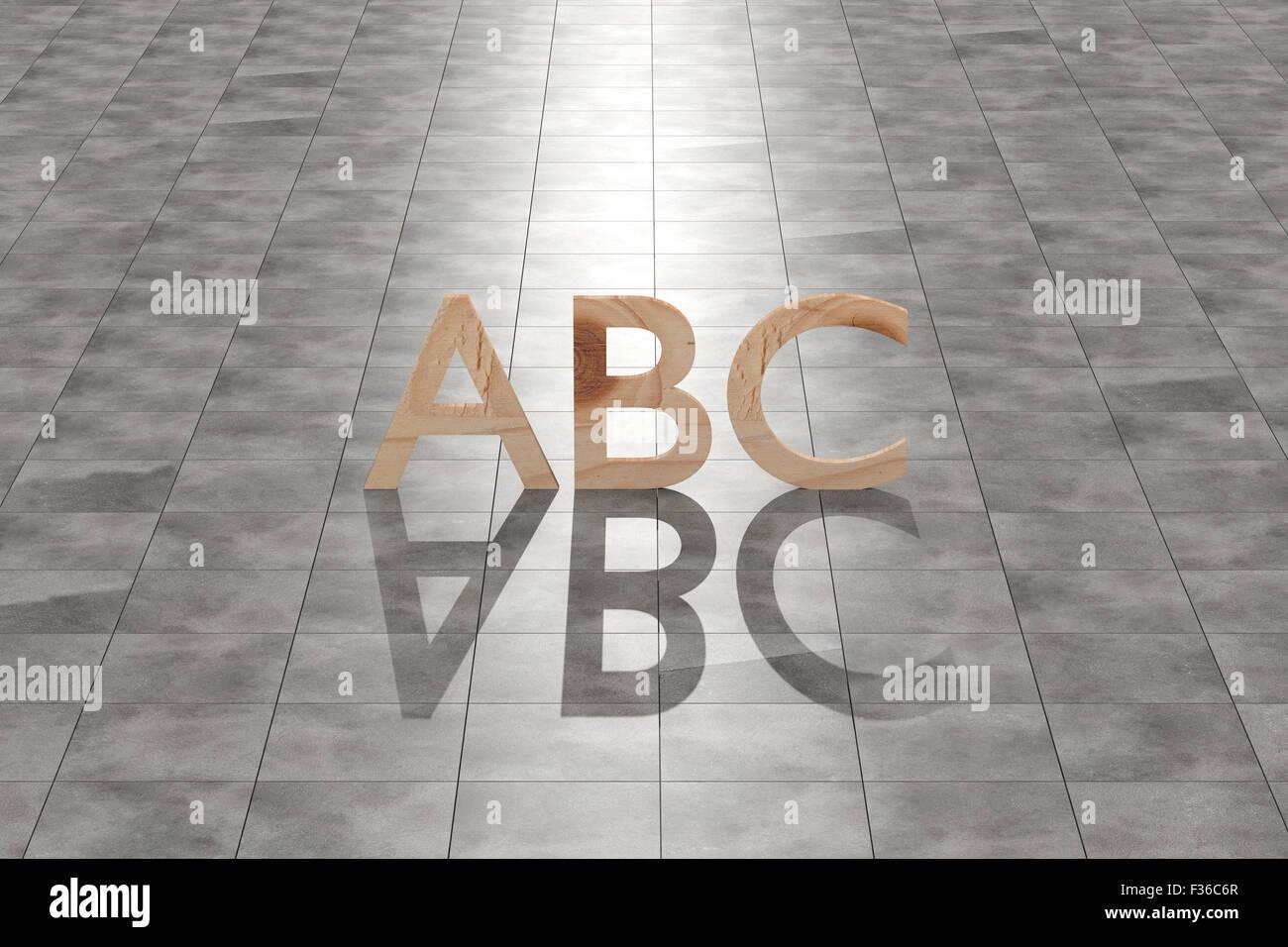 3D rendering di un legno lettere abc su un pavimento in piastrelle. Immagini Stock
