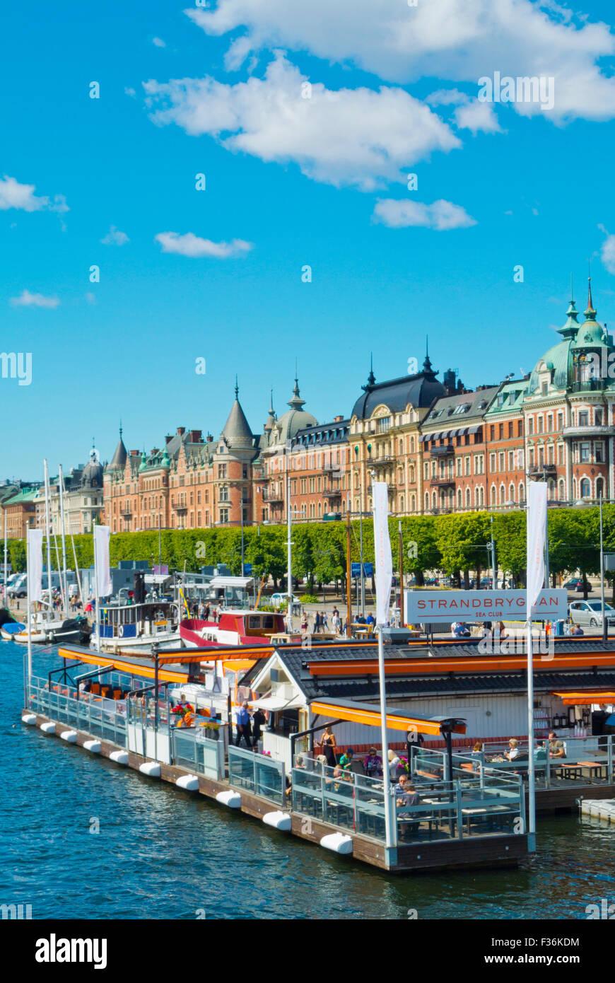 Strandbryggan, cafe e ristorante, Strandvägen, Östermalm, Stoccolma, Svezia Immagini Stock