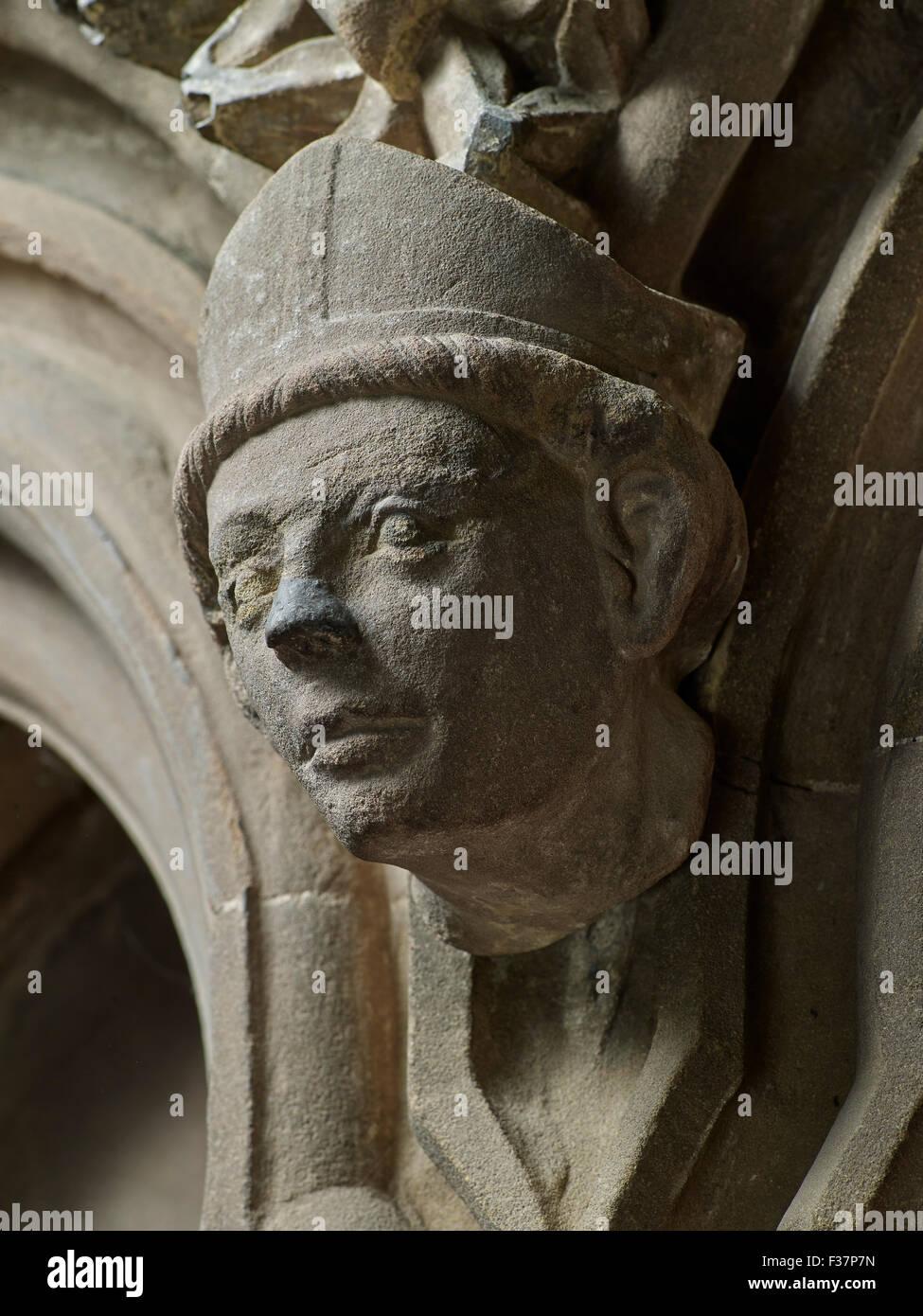 Lichfield Cathedral, ragazzo vescovo carving Immagini Stock