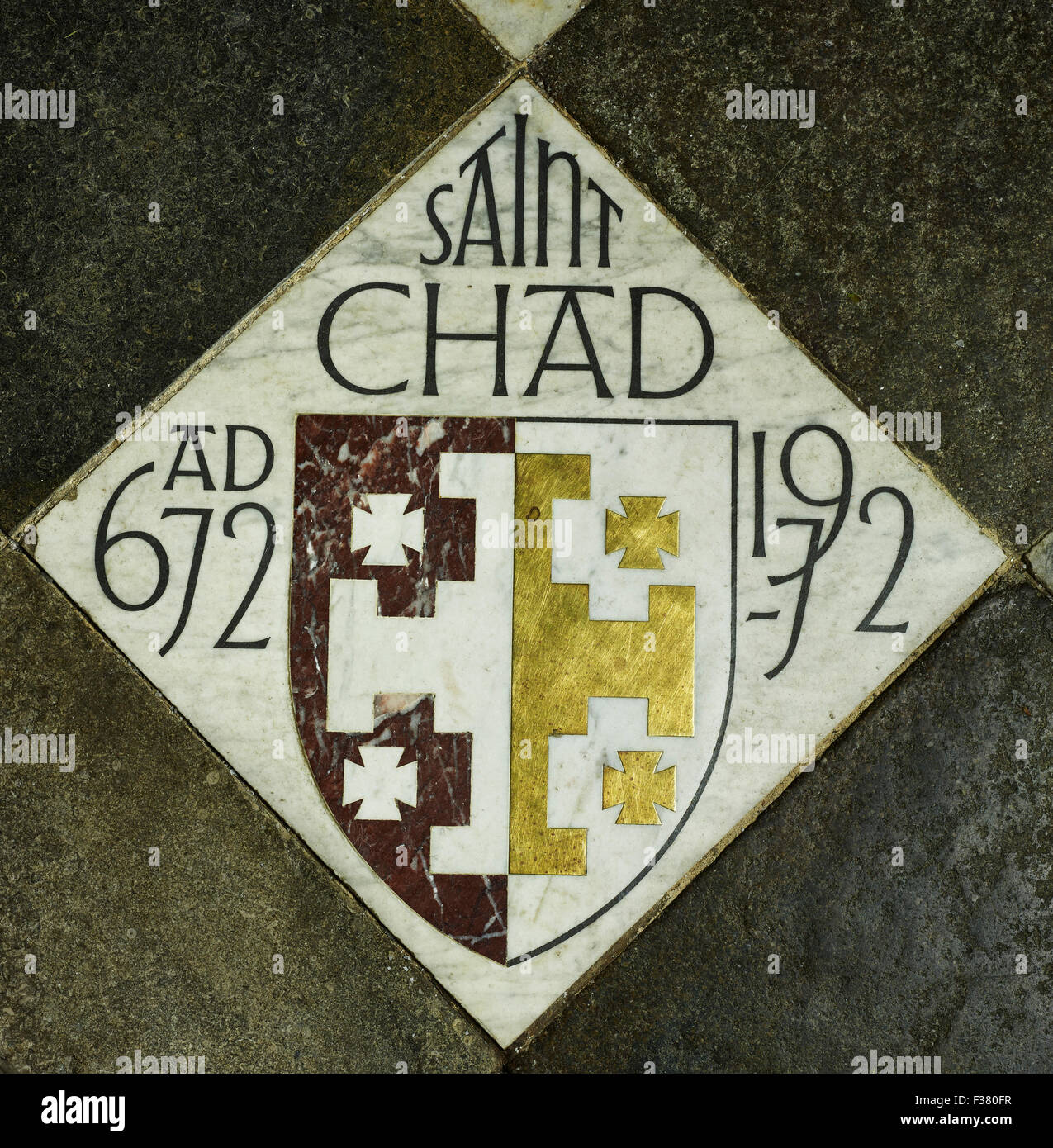 Lichfield Cathedral, St Chad tile Immagini Stock