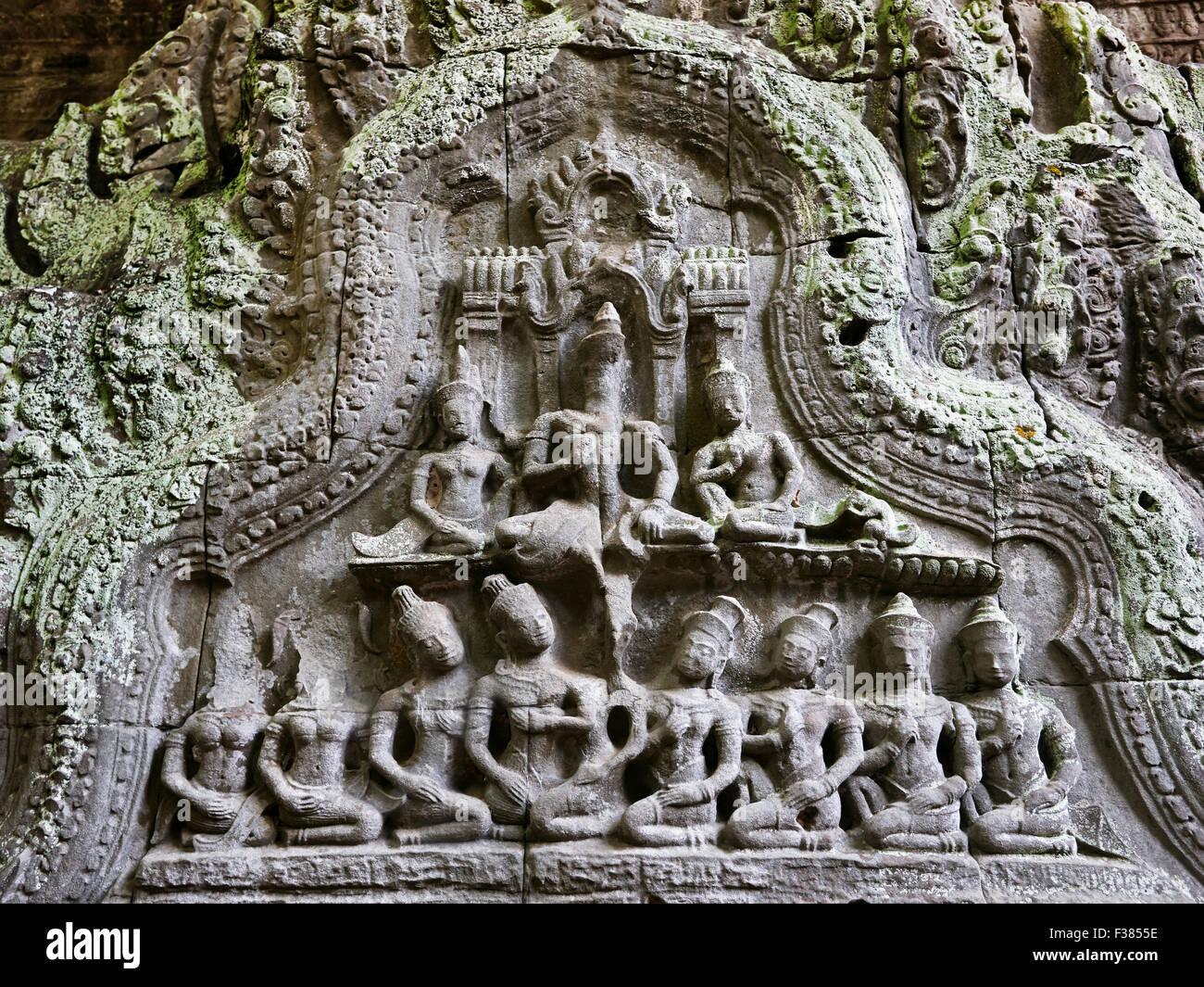 Scultura in pietra in Ta Prohm tempio. Parco Archeologico di Angkor, Siem Reap Provincia, in Cambogia. Immagini Stock