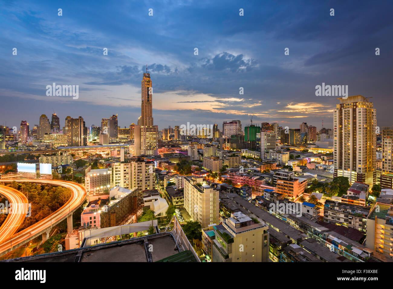 Bangkok, Thailandia, lo skyline della citta'. Immagini Stock