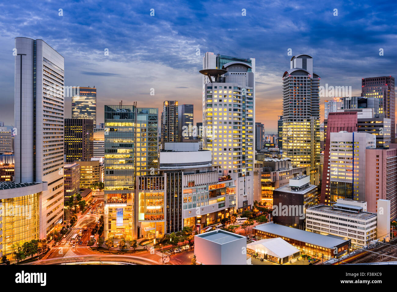 Osaka, Giappone cityscape di Umeda. Immagini Stock