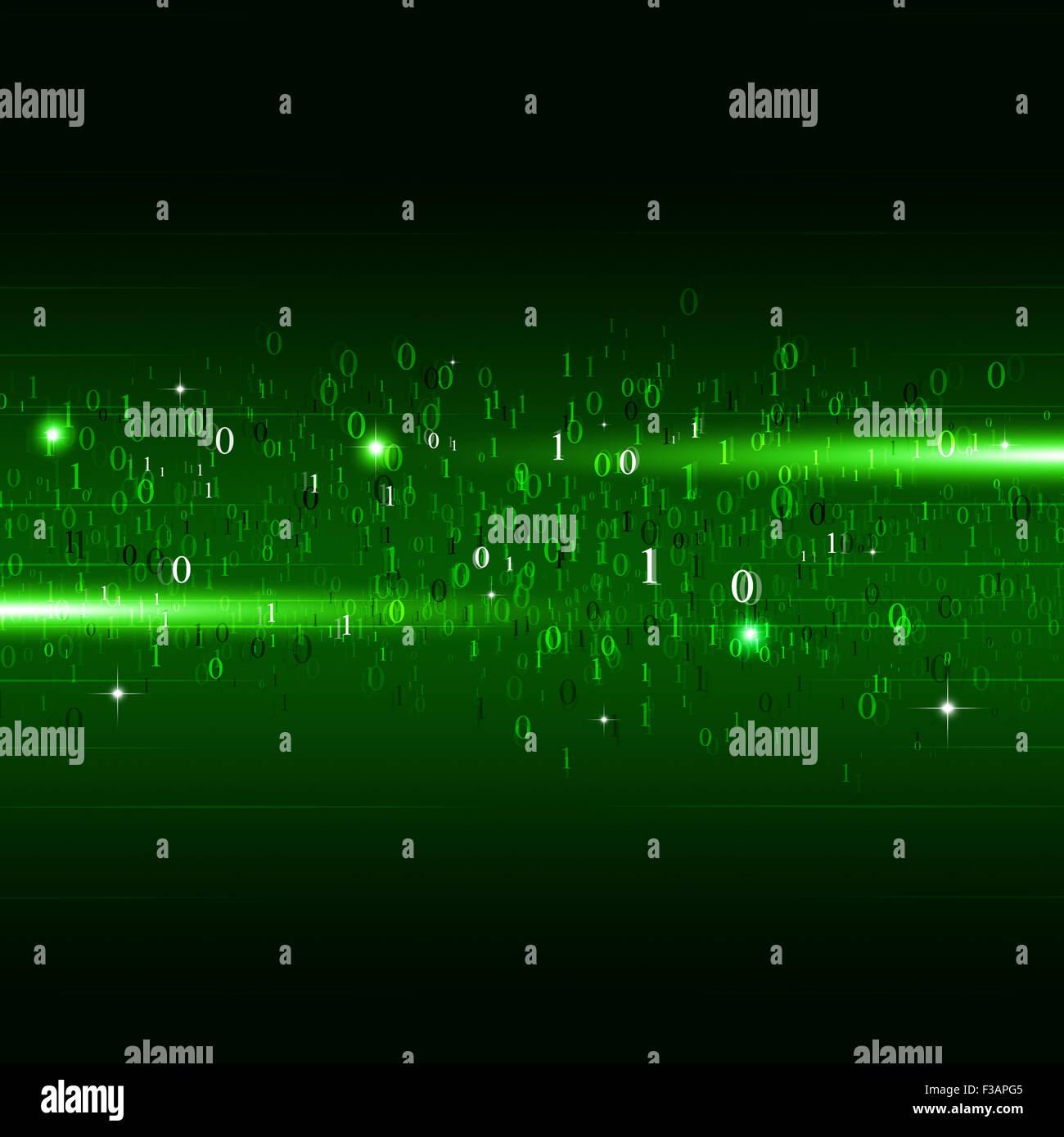 Abstract motion codice binario i numeri tecnologia concetto sfondo verde Immagini Stock