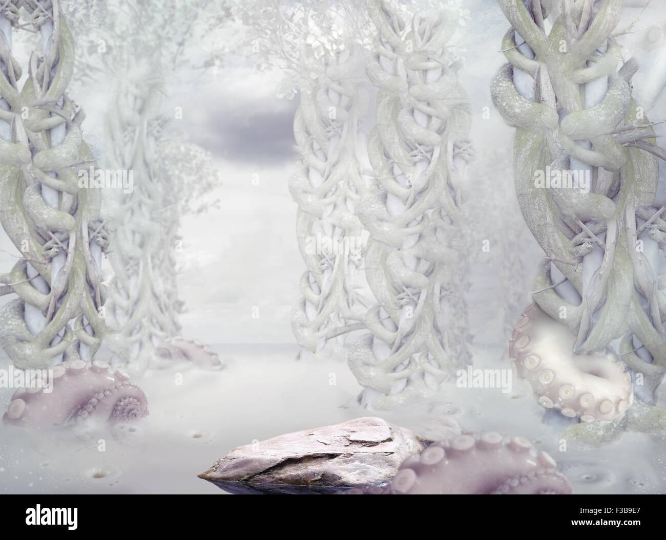 Mistero. Surrealistico bianco misteriosa foresta Immagini Stock