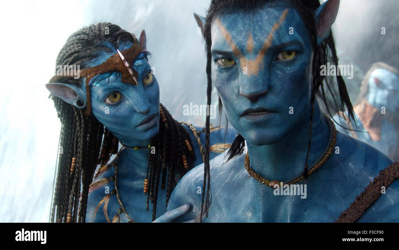 AVATAR 2009 Twentieth Century Fox Film con Zoe Saldana e Sam Worthington Immagini Stock