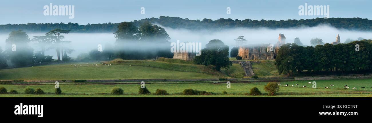 Old Sherborne Castle nella nebbia all'alba, Dorset, Inghilterra Immagini Stock