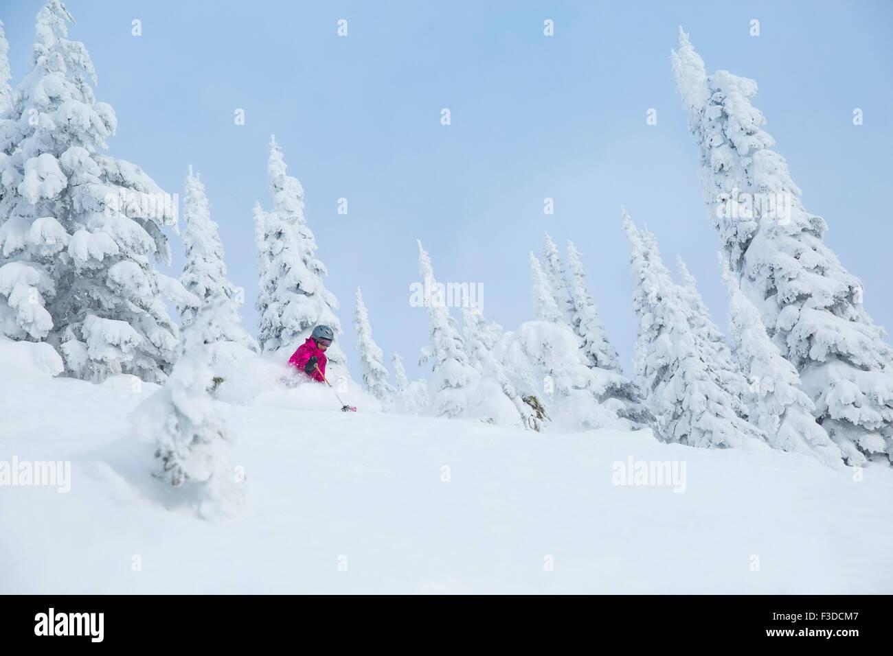 Basso angolo di visione della donna matura sulla pista da sci Immagini Stock