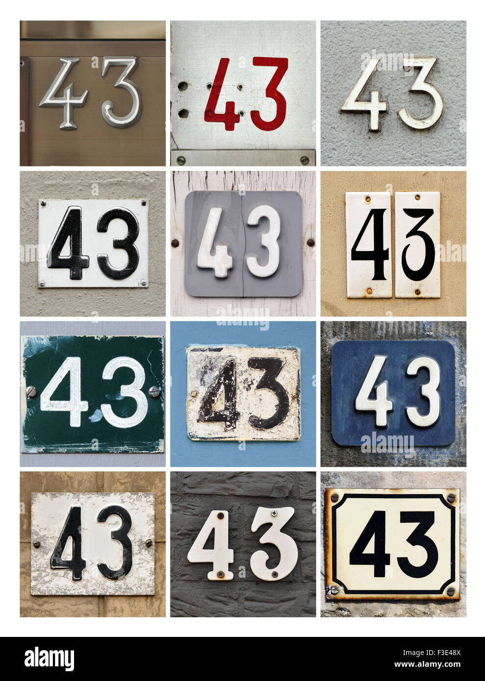 Collage di numeri per Casa Quaranta tre Foto Stock