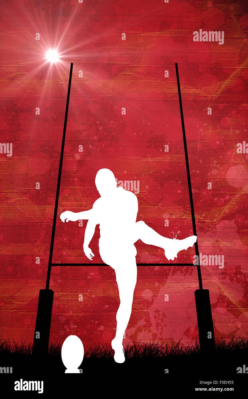 Immagine composita della silhouette di un giocatore di rugby Immagini Stock