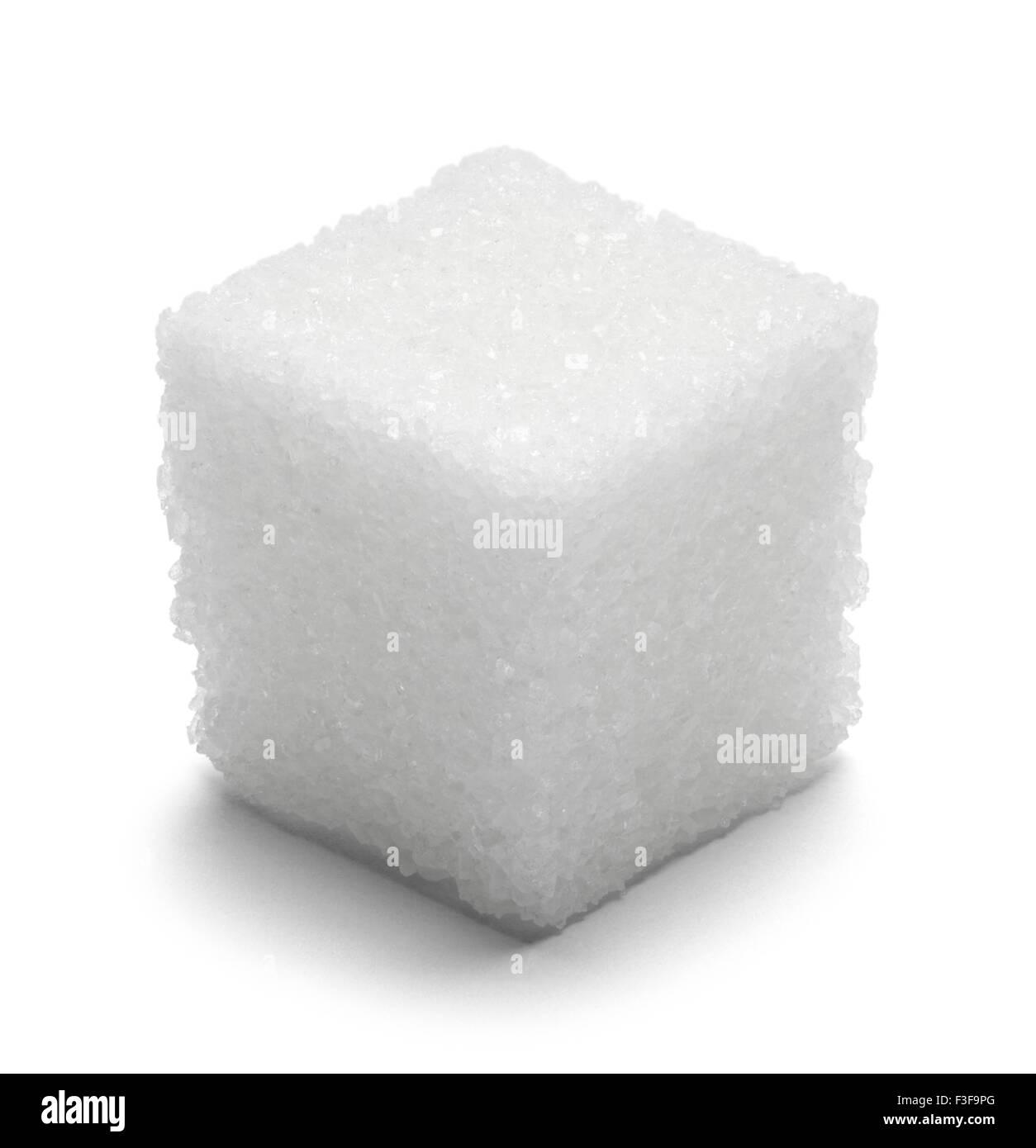Solo cubo di zucchero isolato su sfondo bianco. Immagini Stock