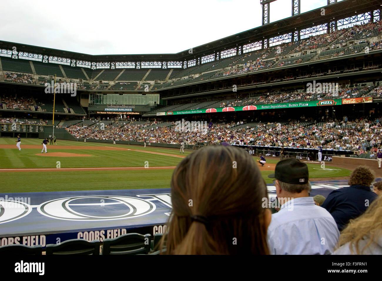Baseball gioco popolare negli Stati Uniti ha giocato in stadium Immagini Stock