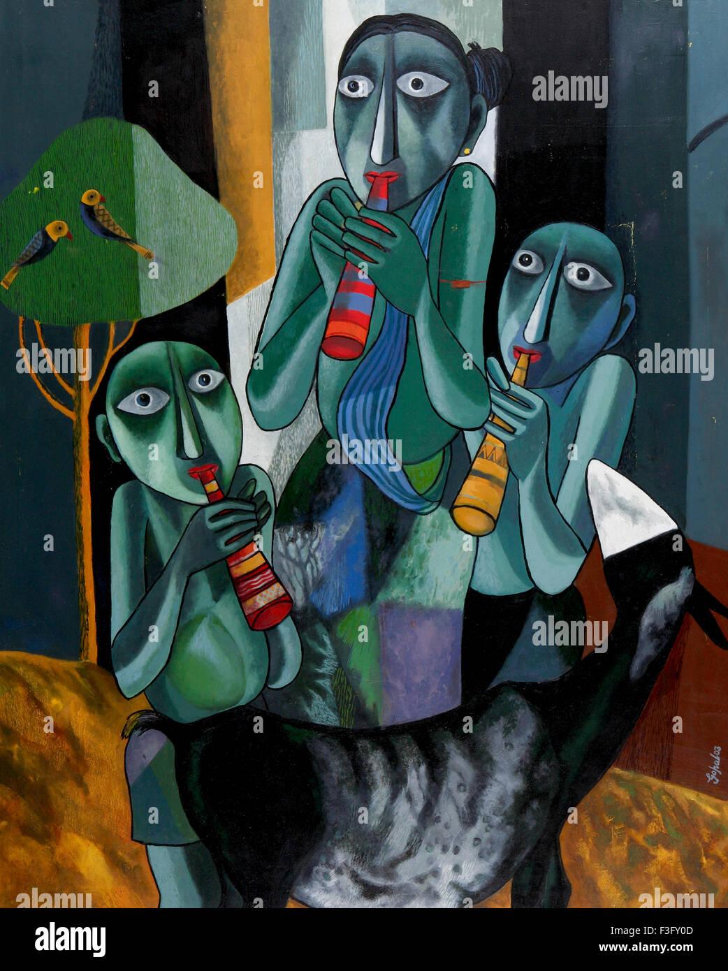 Untitled dal pittore Gopal Sanyal pittura acrilico su tela 36' x 45' arte contemporanea del Bengala ; India Foto Stock