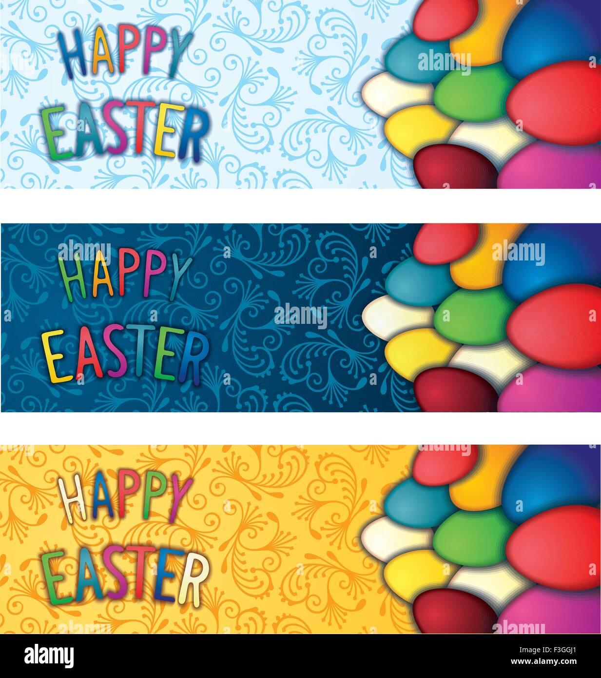 Tre di festa di Pasqua flyer Immagini Stock
