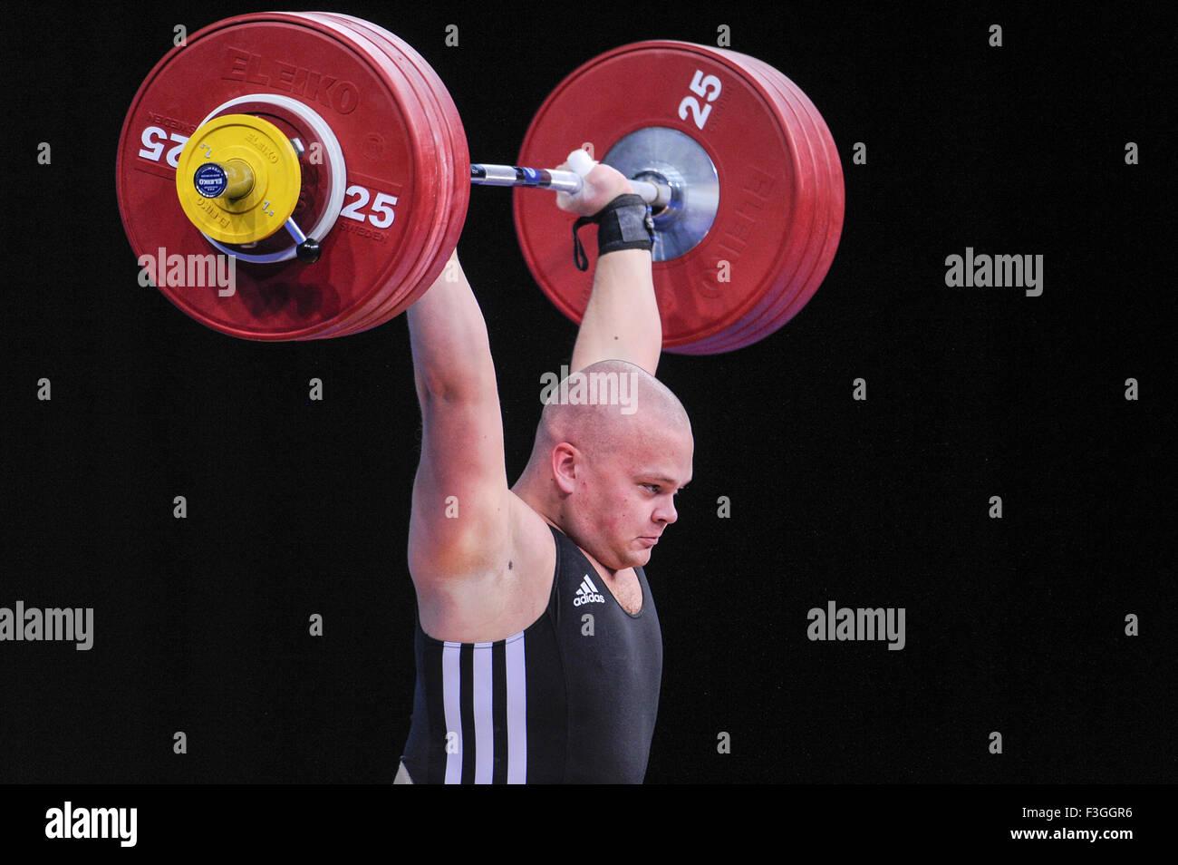 Mart SEIM (EST) nel pulire e jerk, il London prepara il sollevamento pesi olimpico Evento di prova, ExCel Arena, Immagini Stock