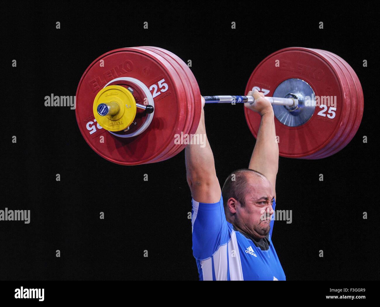 Ferenc GYURKOVICS (HUN) nel pulire e jerk, il London prepara il sollevamento pesi olimpico Evento di prova, ExCel Immagini Stock
