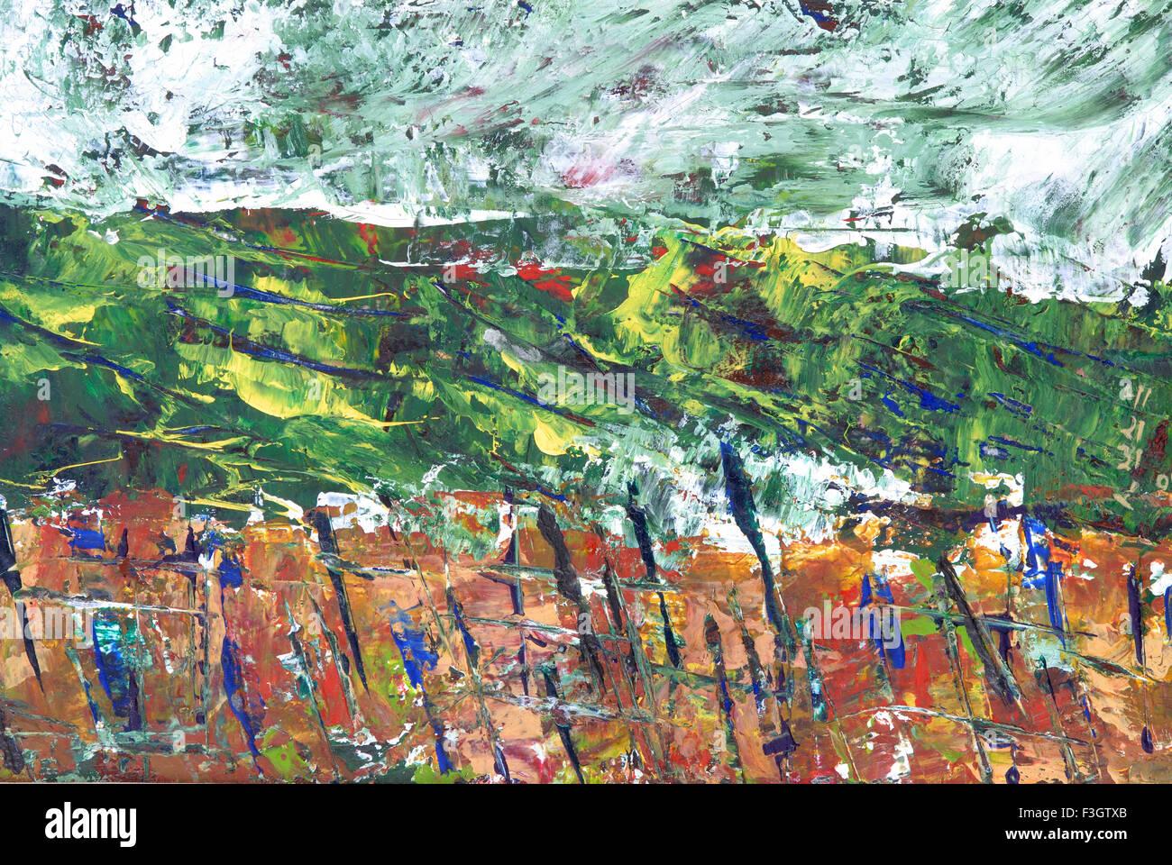 Paesaggio Astratto acquerello su carta Immagini Stock