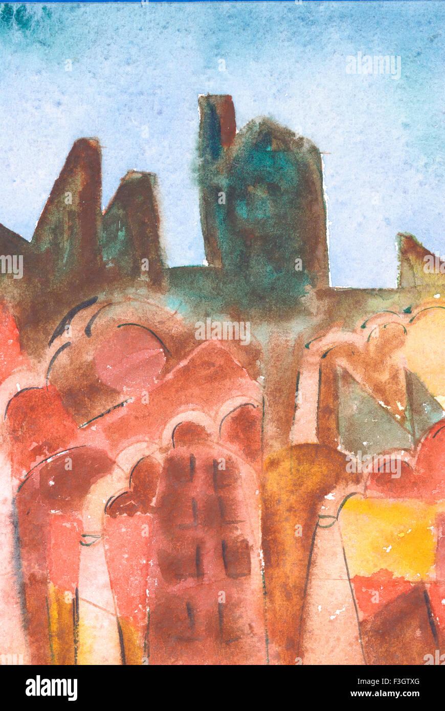 Abstract cityscape acquerello su carta Immagini Stock