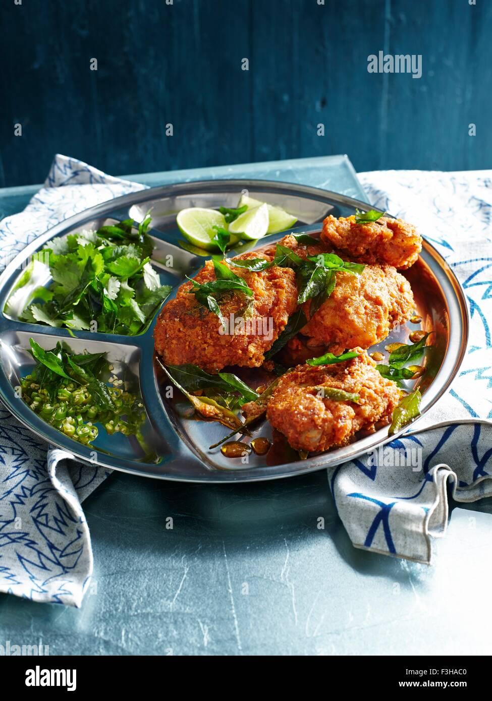 Pollo 65, una piccante fritte al piatto di pollo Immagini Stock