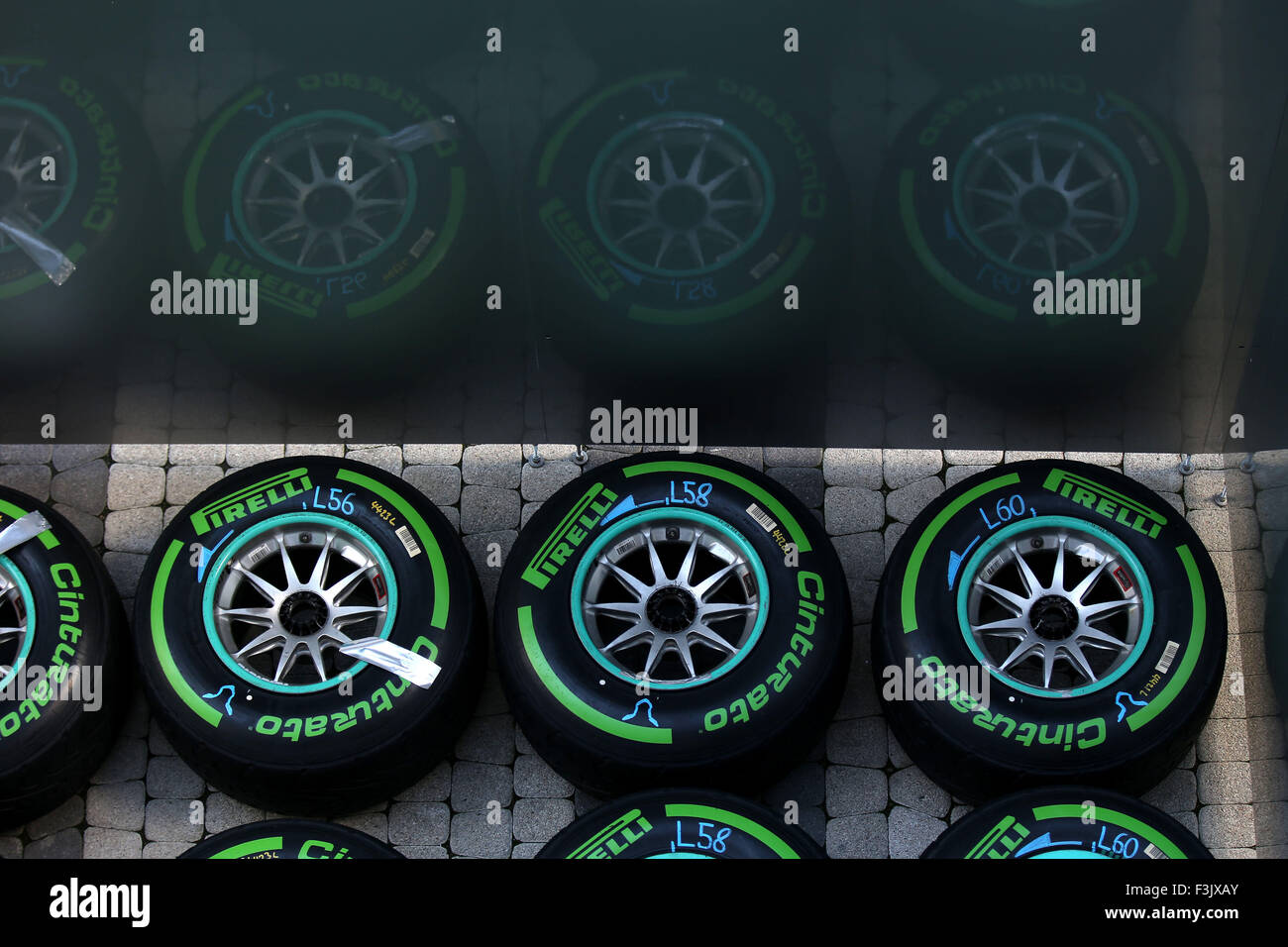 Sochi, Russia. 08 ott 2015. Motorsports: FIA Formula One World Championship 2015, il Grand Prix di Russia, Pirelli, Immagini Stock