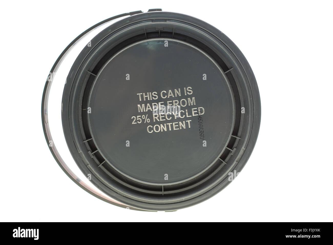 Questo può è costituito da 25% di prodotto riciclato Immagini Stock