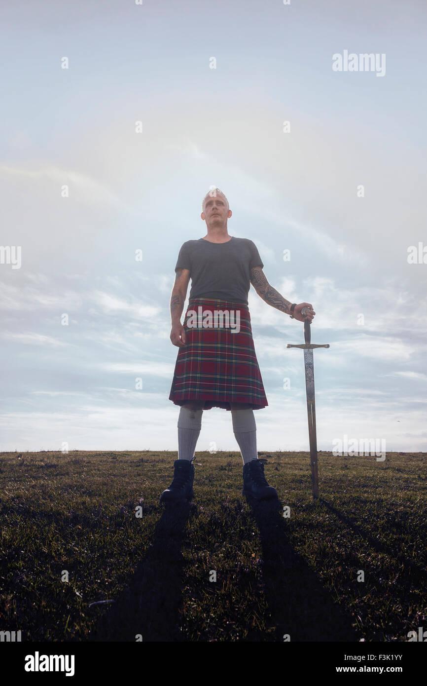 Uno scozzese con la sua spada Immagini Stock
