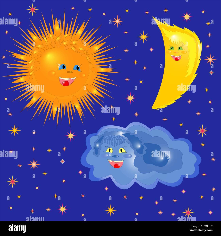 Il Sole La Luna E Il Cloud Su Uno Sfondo Di Cielo Stellato Disegno