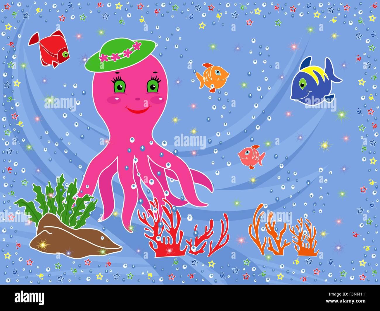 Vita Sottomarina Funny Octopus Pesci Coralli E Alghe Sul Fondale