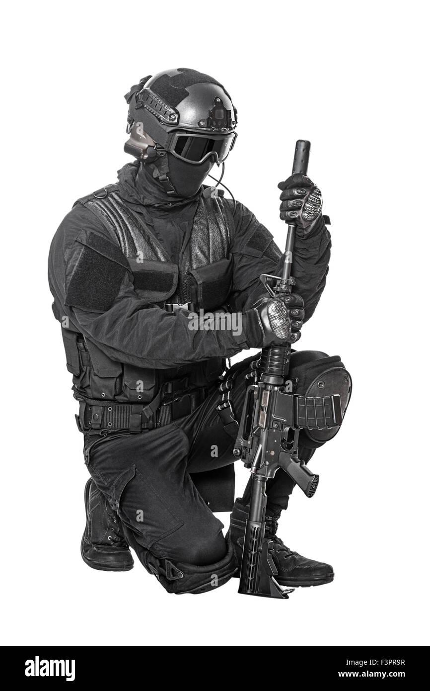 Funzionario di polizia SWAT Immagini Stock
