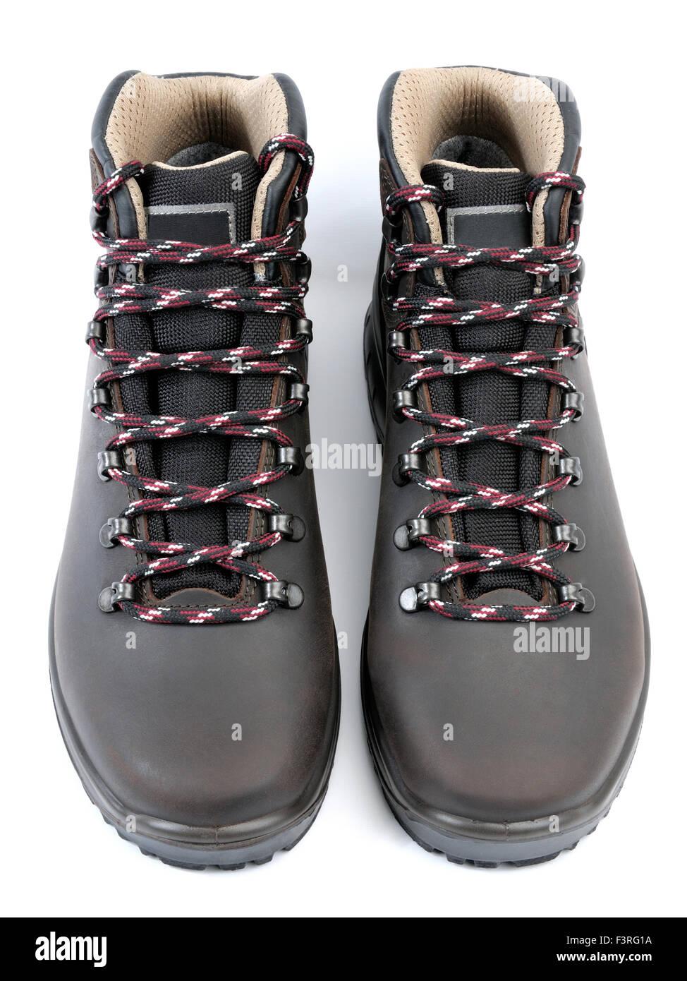 immagini dettagliate la scelta migliore vari colori Impermeabile scarpe da trekking uomo in pelle marrone su sfondo ...