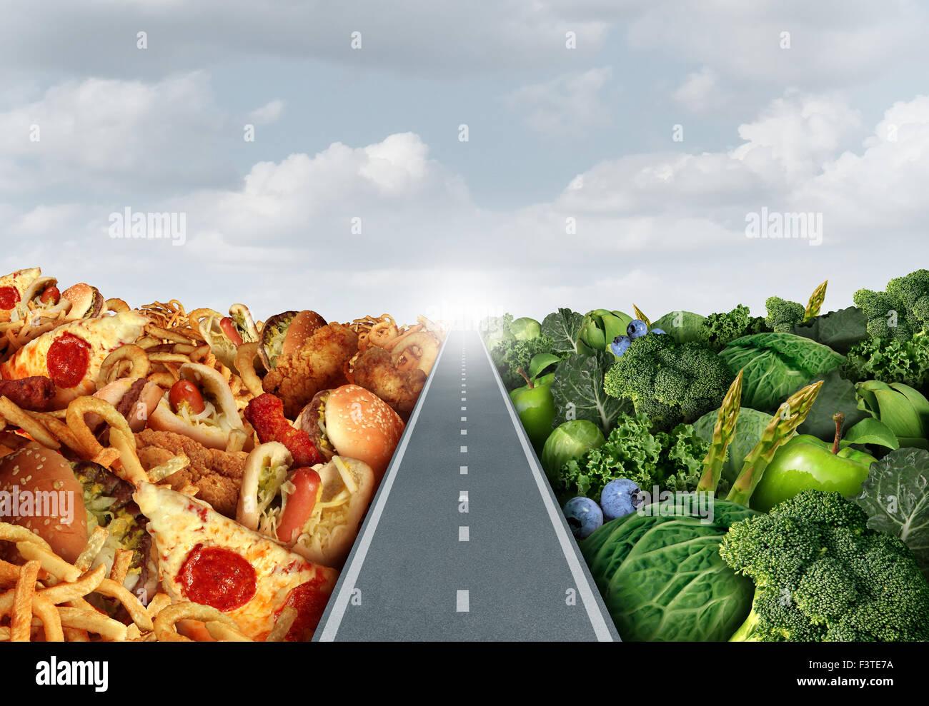 Lo stile di vita della dieta di un concetto o di nutrizione di simboli di decisione e le scelte alimentari dilemma Immagini Stock