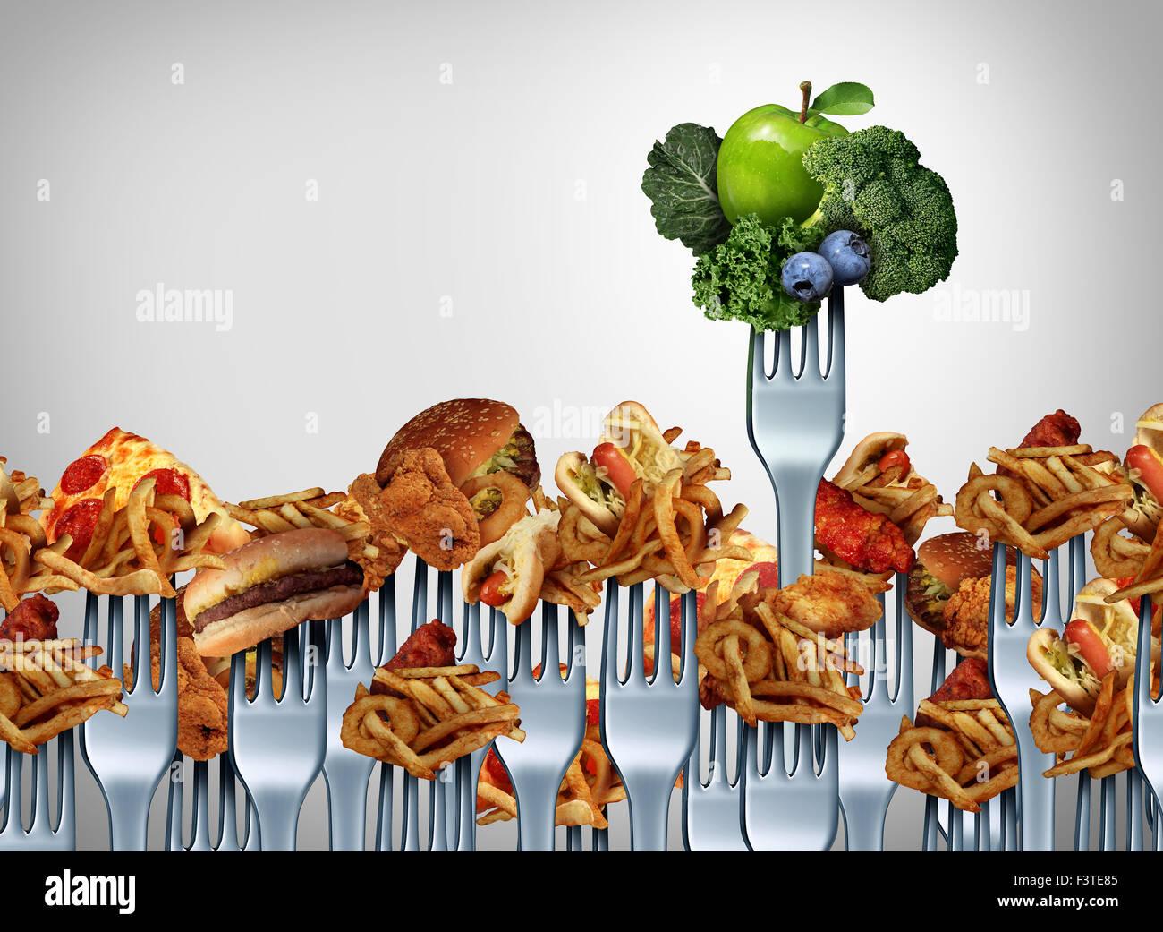 La frutta e la verdura il concetto di scelta e scelte nutrizionali come simbolo di un gruppo della forcella per Immagini Stock