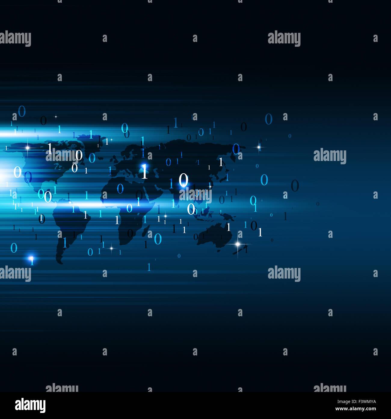 Abstract codice binario i numeri tecnologia concetto sfondo blu Immagini Stock