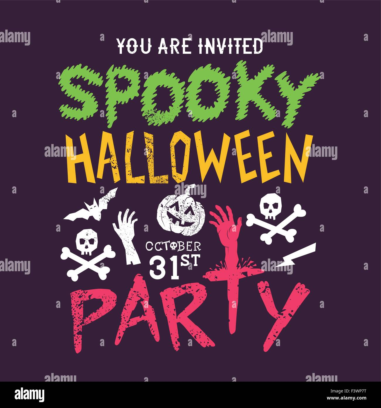 Spooky Halloween party design poster. Happy Halloween! Illustrazione Vettoriale Immagini Stock