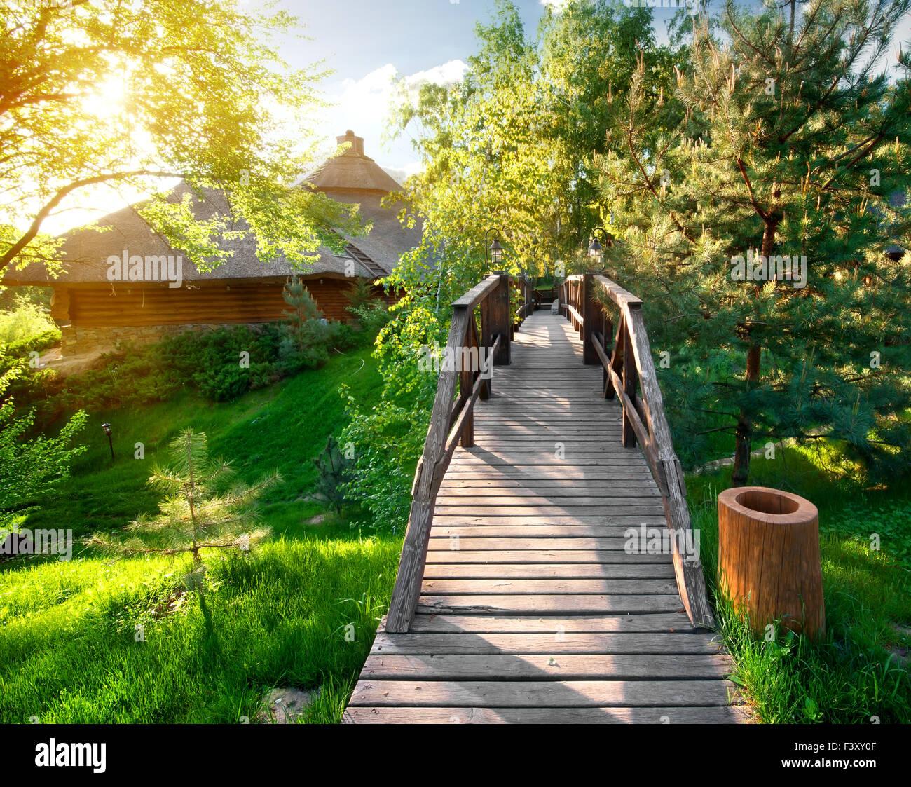 Ponte decorativo nei pressi di pini e di case di legno Immagini Stock