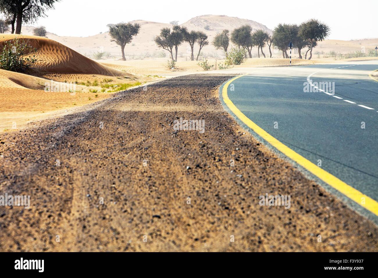 Strada del deserto di Oman Immagini Stock