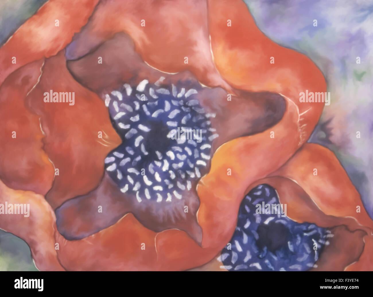 Papaveri rossi acquarello e tempera pittura. Immagini Stock