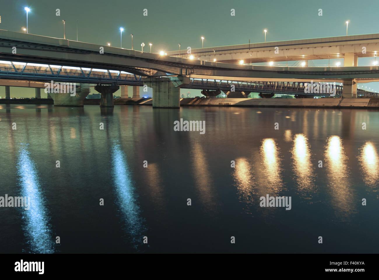 autostrade di notte Immagini Stock