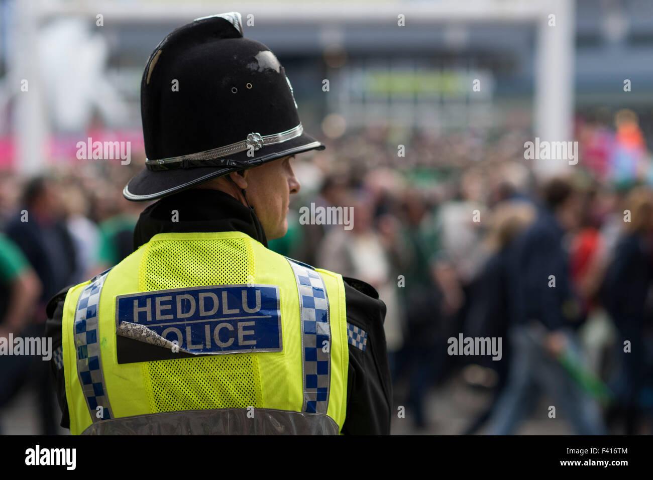 Un Welsh funzionario di polizia appare in corrispondenza di un evento. La forza di polizia del Galles hanno subito Foto Stock