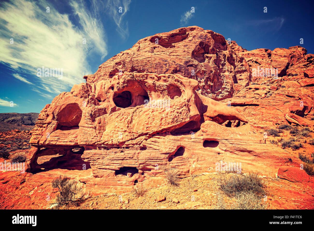 Vintage tonica cranio come formazione di roccia, la Valle del Fuoco State Park, Stati Uniti d'America. Immagini Stock