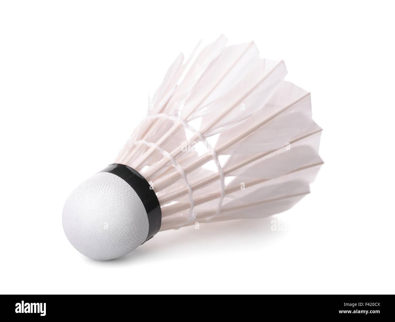 Badminton volano isolato su bianco Immagini Stock