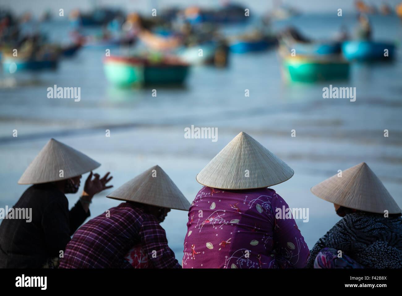 Mũi né villaggio di pescatori, Bình Thuận Provincia, Vietnam Immagini Stock