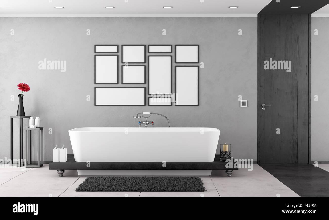 In bianco e nero di bagno con vasca da bagno elegante e porta in